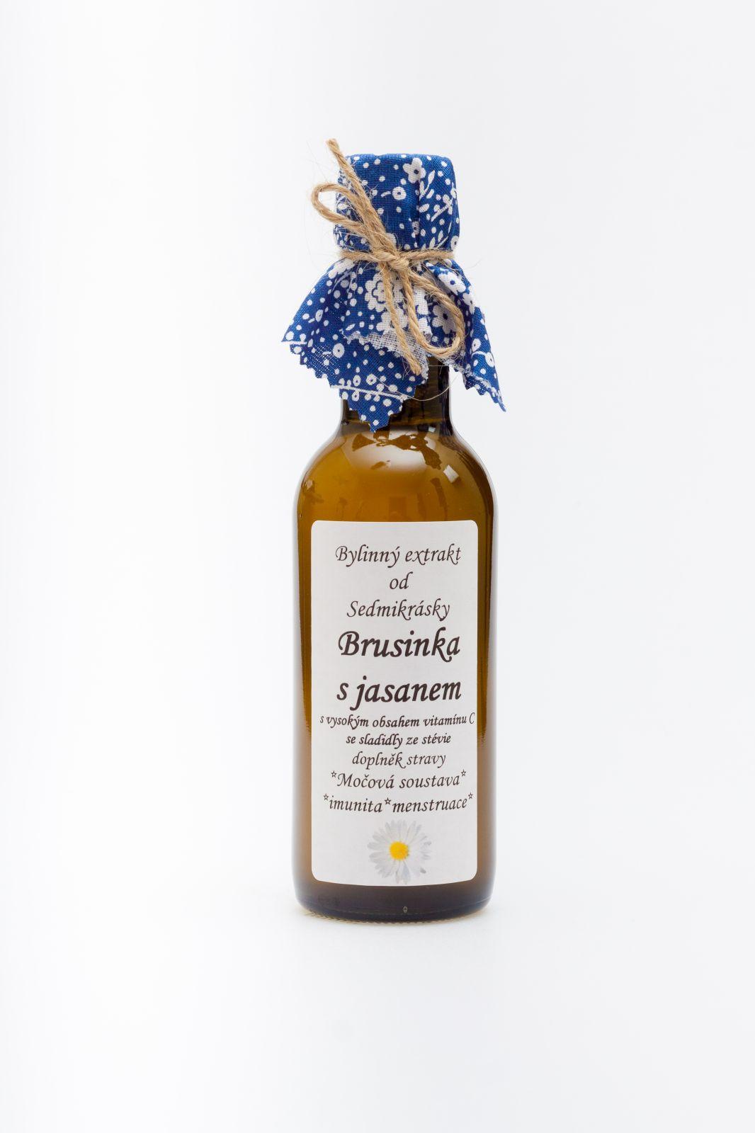 Sedmikráska bBylinný extrakt Brusinka s jasanem 250ml močová soustava, imunita, menstruace Rodinná farma Sedmikráska