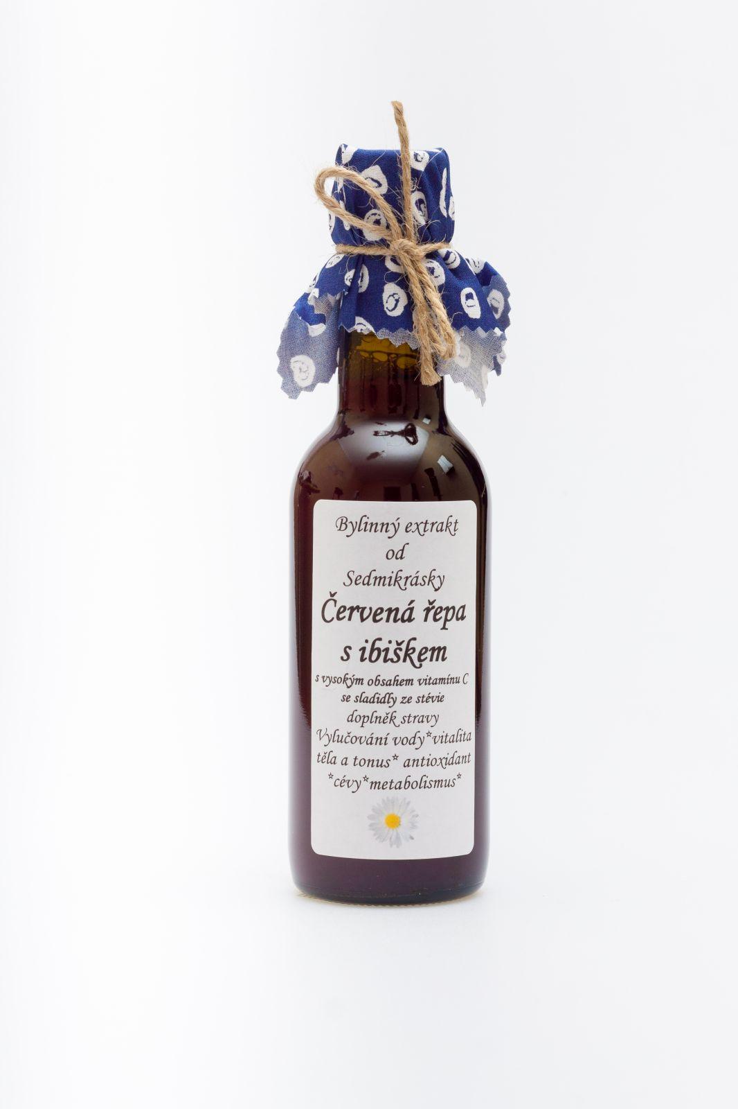 Sedmikráska bylinný extrakt Červená řepa s ibiškem 250ml vylučování vody, vitalita těla a tonus, antioxidant, cévy, metabolismus, vstřebávání železa, doplněk stravy Rodinná farma Sedmikráska