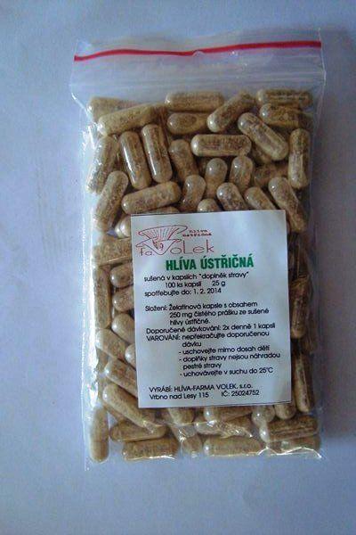 Hlíva ustřičná kapsle 100 ks - Pouze čistý prášek ze sušené hlívy ústřičné přímo od pěstitele Hlíva - Farma Volek sro