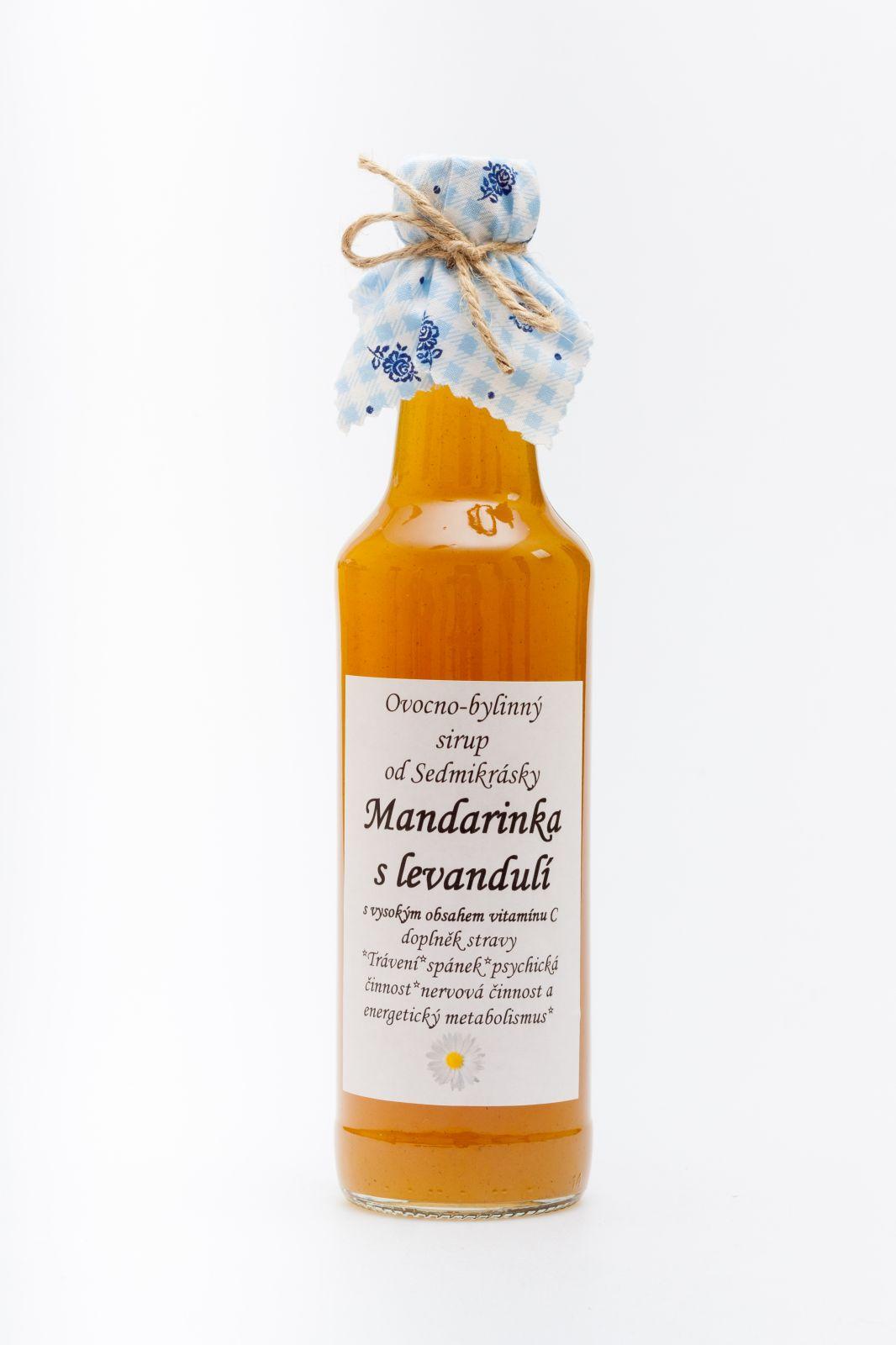 Sedmikráska Ovocno-bylinný sirup Mandarínka s levandulí 500ml – trávení, spánek, nervová soustava, metabolismus, psychická činnost, doplněk stravy Rodinná farma Sedmikráska