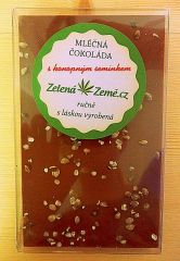 Mléčná čokoláda s konopným semínkem 100g vyrobena ručně Zelená Země s.r.o.