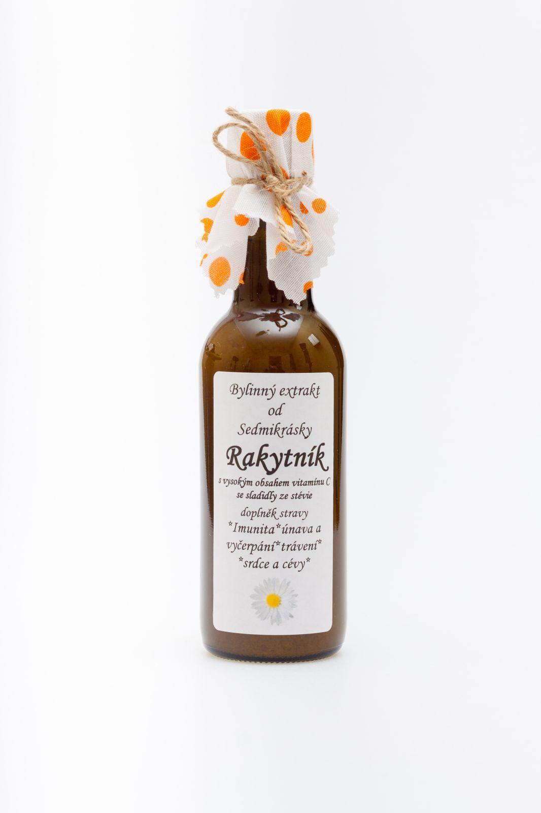 Sedmikráska bylinný extrakt Rakytník 250ml imunita, únava a vyčerpání, trávení, srdce a cévy doplněk stravy Rodinná farma Sedmikráska