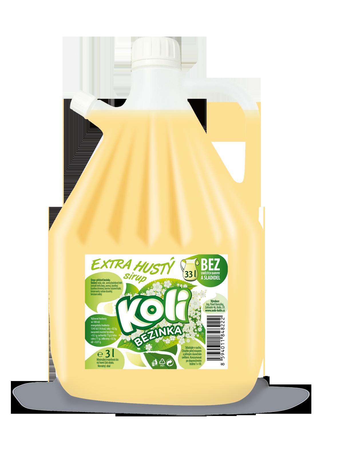 Koli sirup EXTRA hustý 3lt bezinka Osvěžující limonáda Koli s příchutí bezinky. Sodovkárna Kolín