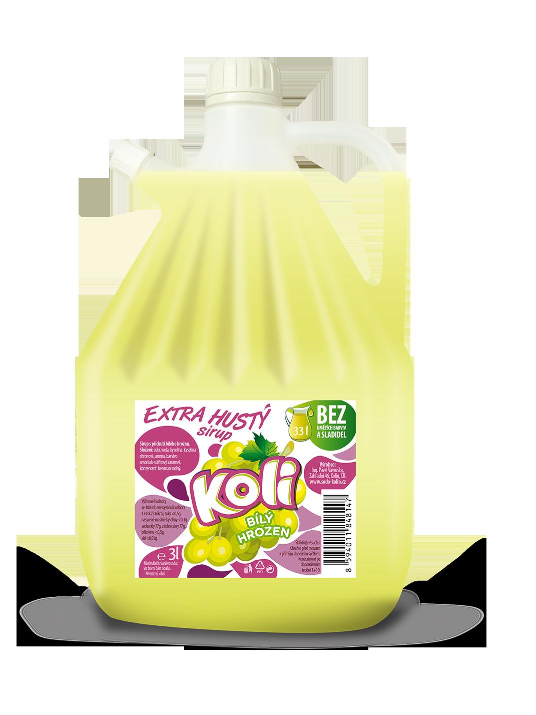 Koli sirup EXTRA hustý 3lt bílý hrozen - osvěžující limonáda s příchutí bílých hroznů. Sodovkárna Kolín