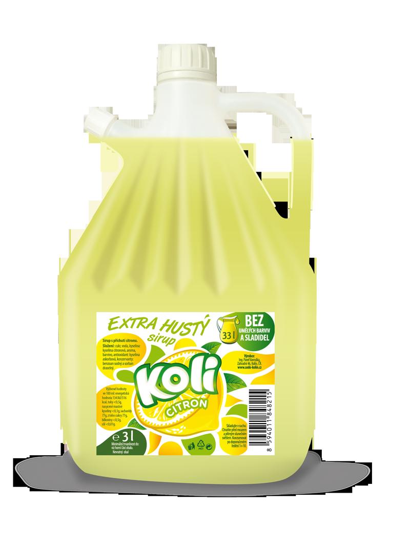 Koli sirup EXTRA hustý 3lt citron - osvěžující limonáda s příchutí citronu. Sodovkárna Kolín