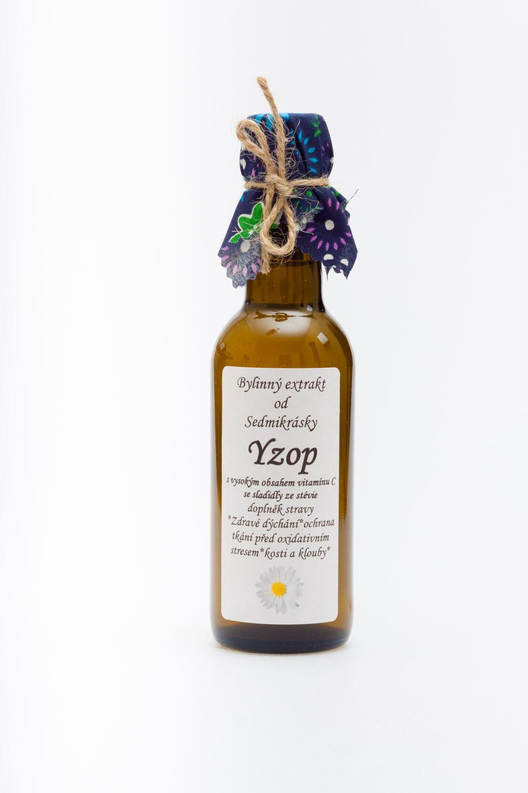 Sedmikráska bylinný extrakt Yzop s anýzem 250ml zdravé dýchání, ochrana tkání před oxidativním stresem, kosti a klouby, vitalita, trávení, nadýmání doplněk stravy Rodinná farma Sedmikráska