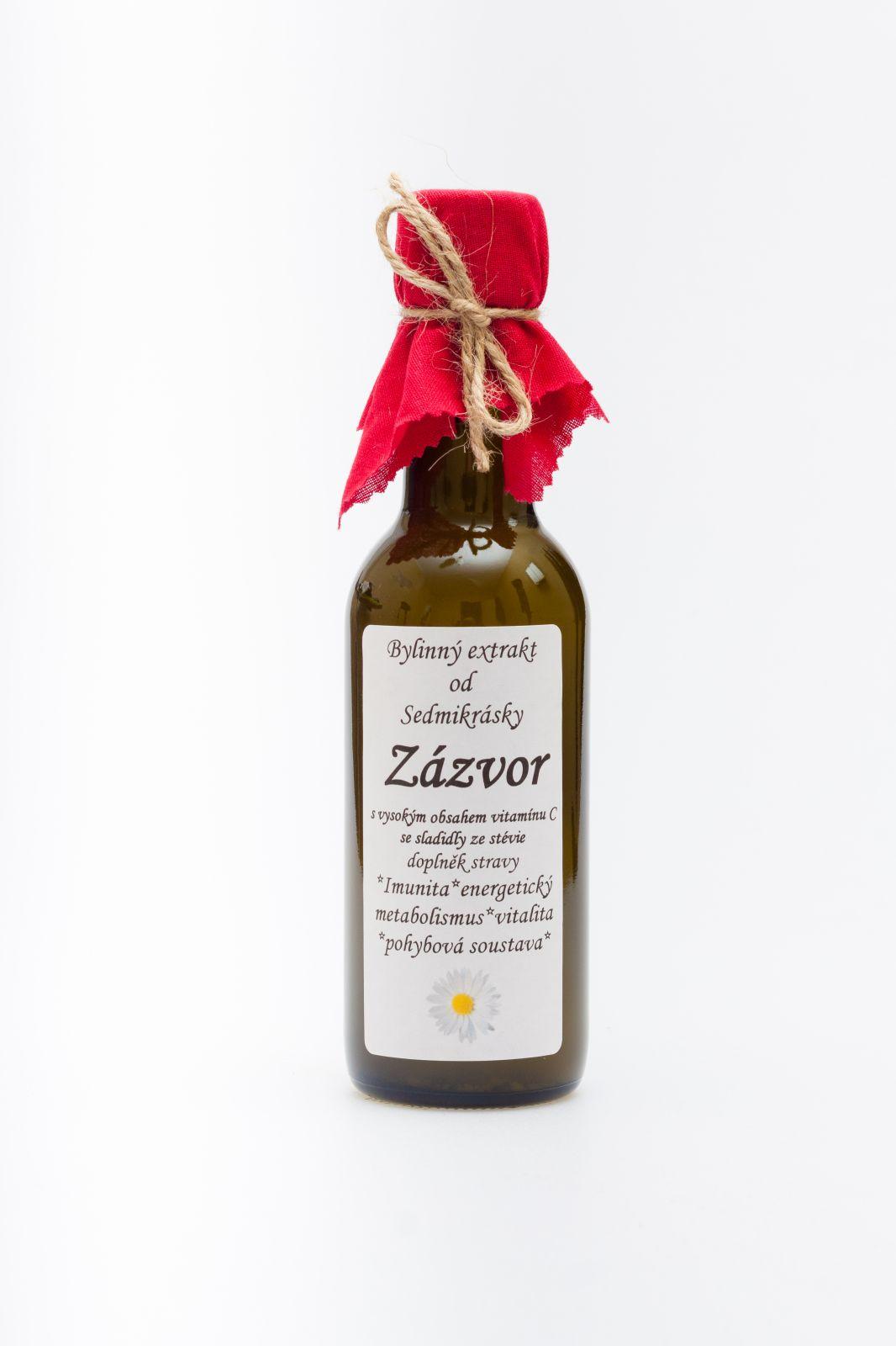 Sedmikráska bylinný extrakt Zázvor 250ml imunita, energetický metabolismus, vitalita, pohybová soustava, komfort při cestování, trávení v těhotenství doplněk stravy Rodinná farma Sedmikráska