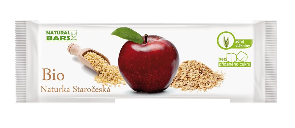 BIO Naturka Staročeská ovocná s jablky a ořechy tyčinka 30gr Natural Bars