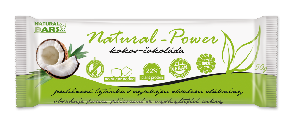 Proteinová tyčinka Natural Power kokos+čokoláda 50gr Natural Bars