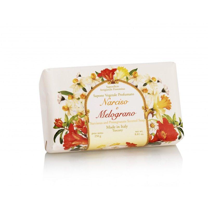 Ručně balené mýdla Saponificio Artigianale Fiorentino - Mýdlo Narciso e Melograno 250gr