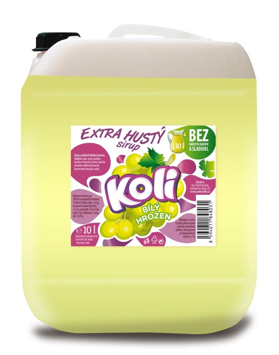 Koli sirup EXTRA hustý 10lt bílý hrozen Osvěžující limonáda s příchutí bílých hroznů. Sodovkárna Kolín