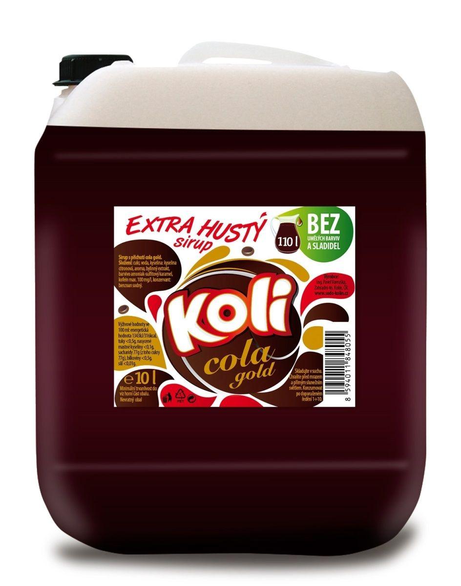 Koli sirup EXTRA hustý 10lt cola gold s plnou kolovou chutí. Sodovkárna Kolín