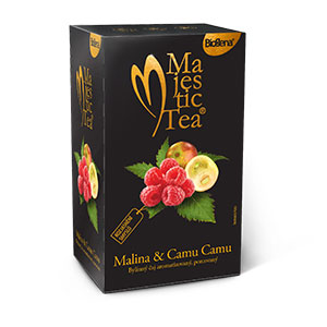 Biogena Majestic Tea Malina & Camu Camu 20x2,5g Ovocný čaj aromatizovaný, porcovaný. Biogena CB s.r.o.