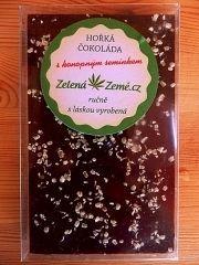 Zelená země Hořká čokoláda s konopným semínkem 100g BEZ CUKRU