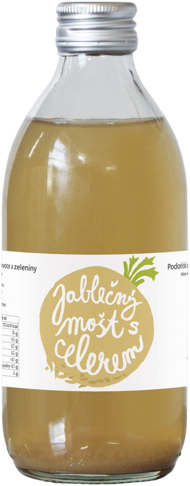 100% mošt Jablko celer 0,33lt - Celer působí příznivě na činnost ledvin, jater, žaludku. Doporučuje se při obezitě, neboť urychluje látkovou výměnu a působí i jako zdraví neškodné afrodisiakum Podorlická sodovkárna Rychnov n/ Kněžnou