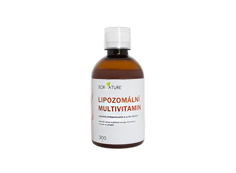 Bornature LIPOZOMÁLNÍ MULTIVITAMIN 300ML je vyrobený lipozomální technologií a je vyvážen tak, aby obsahoval složky, které chybí. Jako je vit. C, D, A řada vitaminu B obohacen o lutein (pro oči) a lykopen (pro kůži).