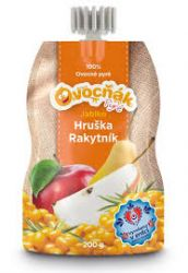Ovocňák - Pyré Jablko - hruška, rakytník 200 ml - 55% jablečné dřeně, 40 % hrušková dřeň, 5% rakytníková dřeň