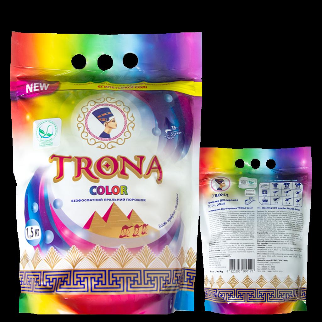 Trona prací prášek Color 1,0kg - universální bezfosfátový prací prášek na barevné prádlo. Polymer Ukrajina