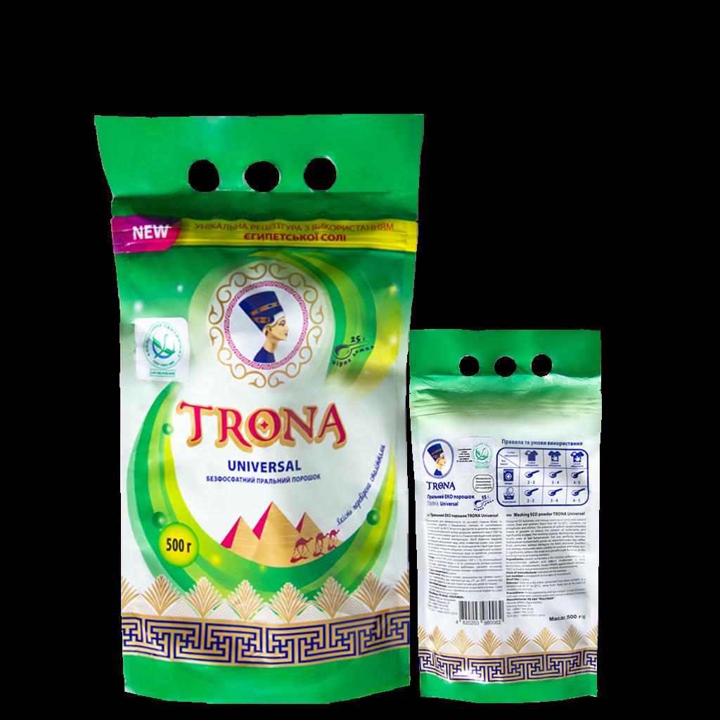 Trona prací prášek Universal 0,5kg - bezfosfátový prací prášek na bílé i barevné prádlo Polymer Ukrajina