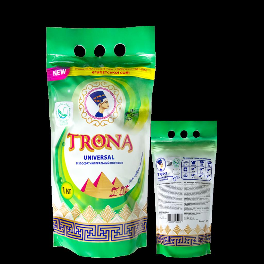 Trona prací prášek Universal 1,0kg - bezfosfátový prací prášek na bílé i barevné prádlo Polymer Ukrajina