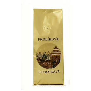 Frolíkova Extra káva 1000g mletá - Jedná se o 100% Arabiku ze Střední Ameriky a Asie. Jan Frolík - Pražírna kávy