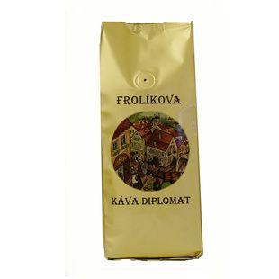 Frolíkova káva Diplomat 1000g zrnková Jedná se 100% Arabiku ze Střední , jižní Ameriky a Asie. Jan Frolík - Pražírna kávy
