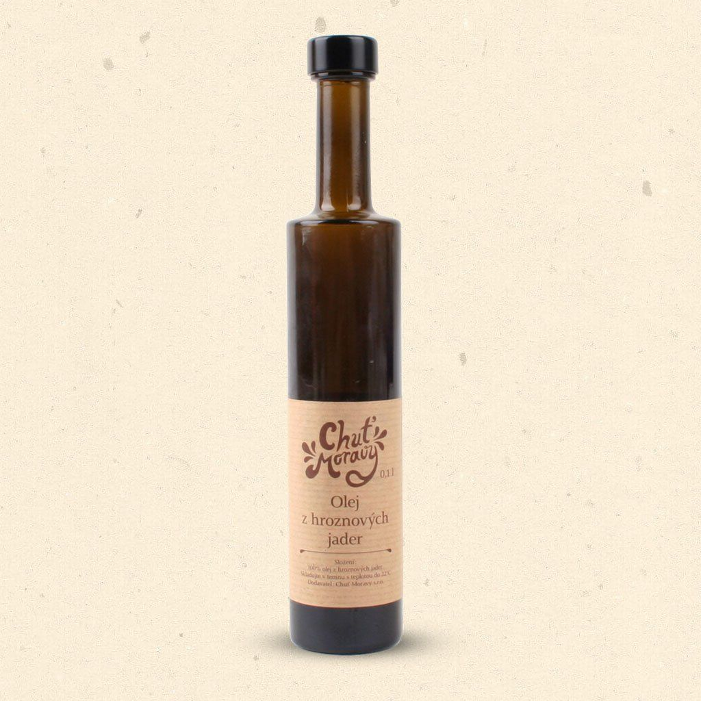 Chuť Moravy - Olej z hroznových jader působí blahodárně na organismus a je výraznou prevencí proti různým civilizačním chorobám. 100 ml Chuť Moravy s.r.o.