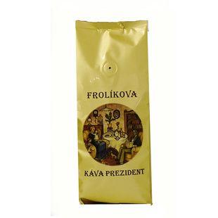 Frolíkova káva Prezident 500 zrnková. Jedná se o specifickou chuť kávy pocházející z Afriky. Jan Frolík - Pražírna kávy